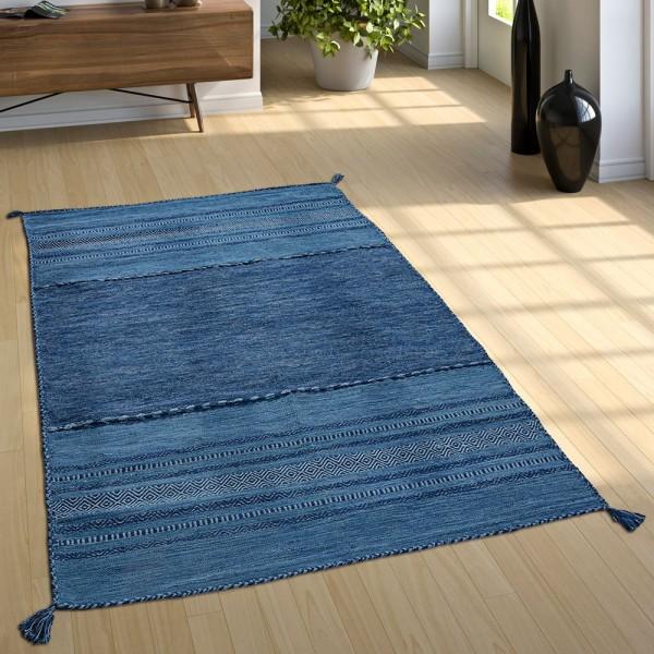 Designer Teppich Webteppich Kelim Handgewebt 100% Baumwolle Modern Gemustert Blau