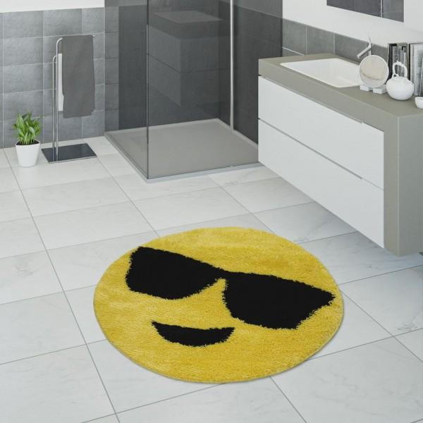 Badematte, Kurzflor-Teppich Für Badezimmer Mit Smiley, Emoji-Motiv In Gelb