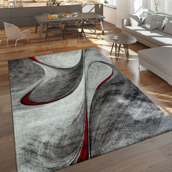 Moderner Kurzflor Teppich Wohnzimmer Meliert Abstraktes Design Grau Rot Schwarz