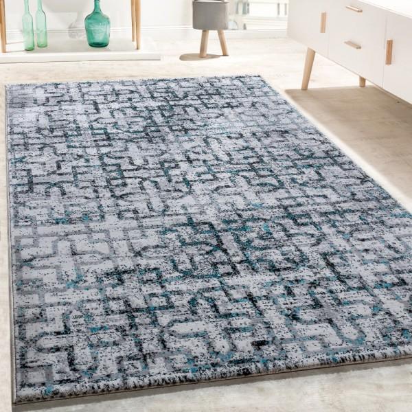 Designer Teppich Wohnzimmer Modern Kreuz Muster In Grau Schwarz Türkis