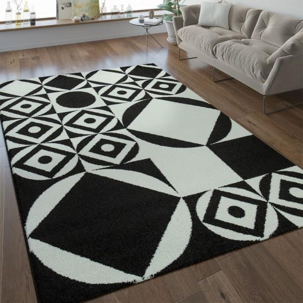 Modern Kurzflor Teppich Geometrisches Design Schwarz